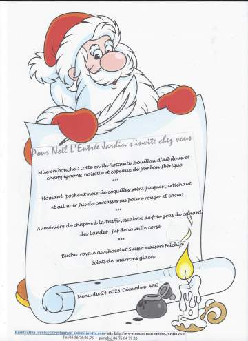 Menu de Noël disponible à emporter